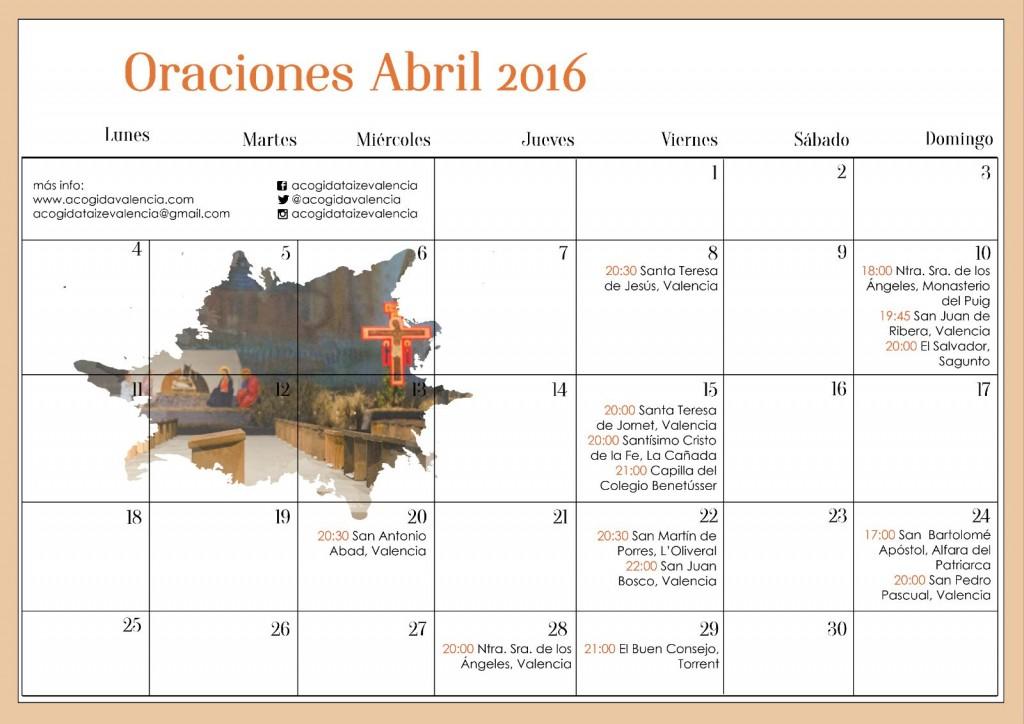 Cartel con las Oraciones itinerantes arziprestales de Taizé Mes de abril 2016